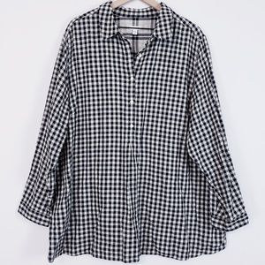 J. Jill plus size gingham 3/4 button top 4XL